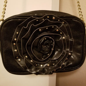 Steve Madden black leather purse with chain strap